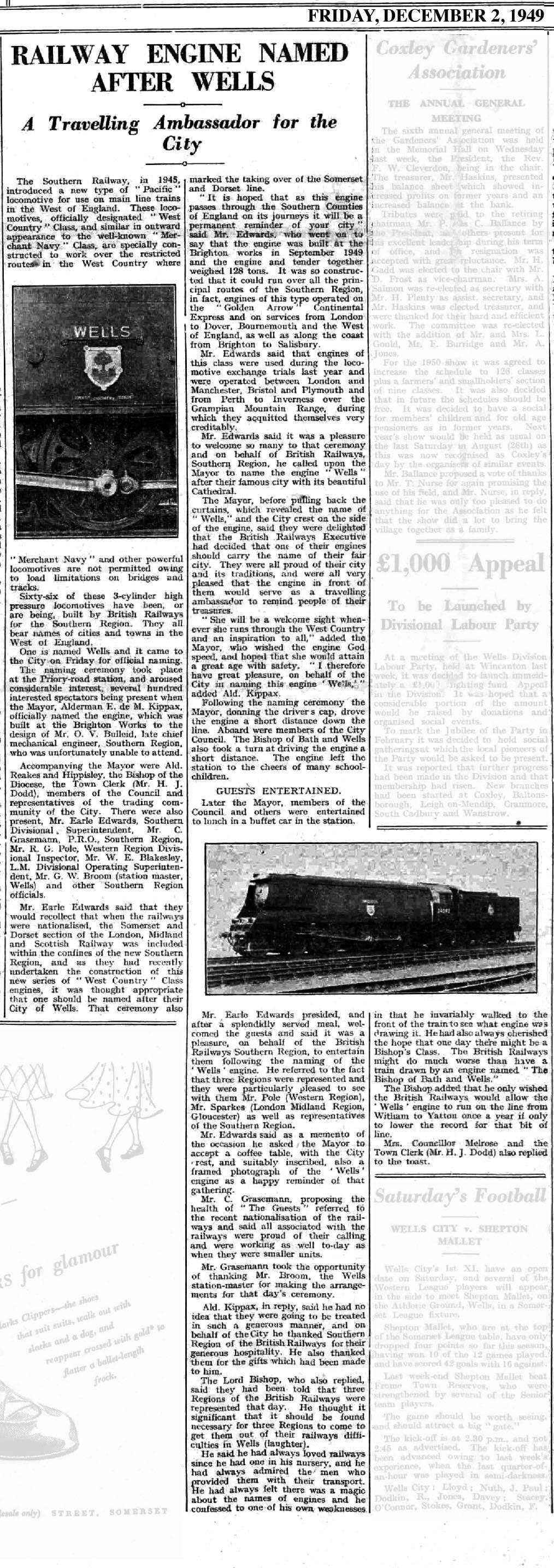 2 December 1949 Naming of Wells